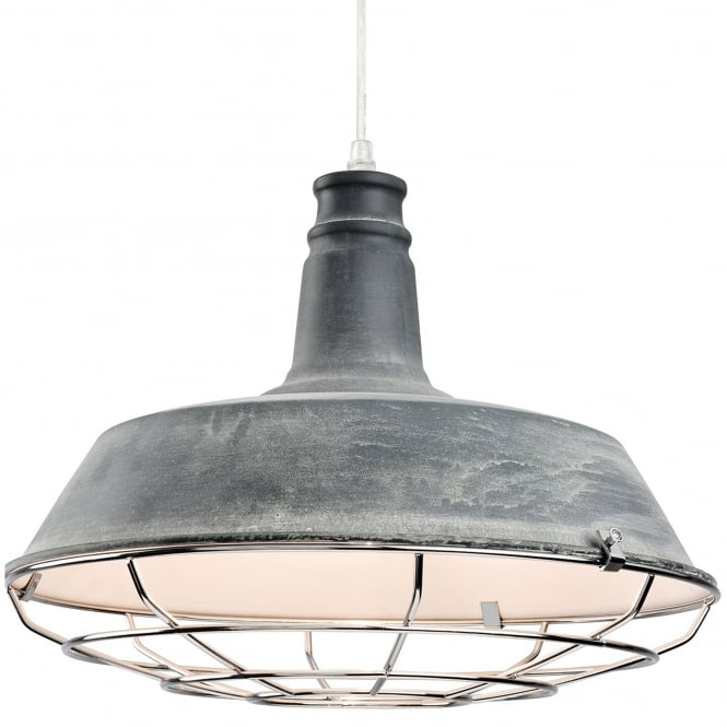 Firstlight Manta Pendant in Concrete and Chrome