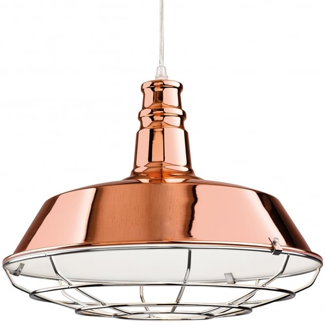 Firstlight Manta Pendant in Copper with Chrome Grill
