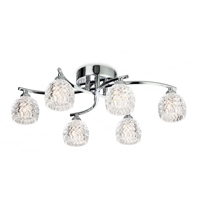 Firstlight Maple 6 Light Flush Fitting in Chrome with Clear Decorative Glass