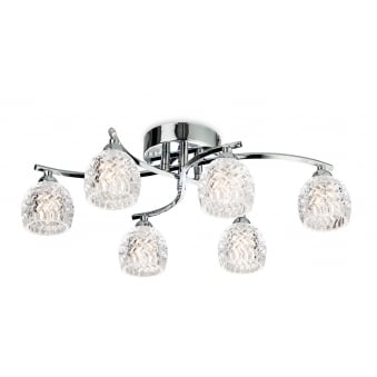 Maple 6 Light Flush Fitting in Chrome with Clear Decorative Glass