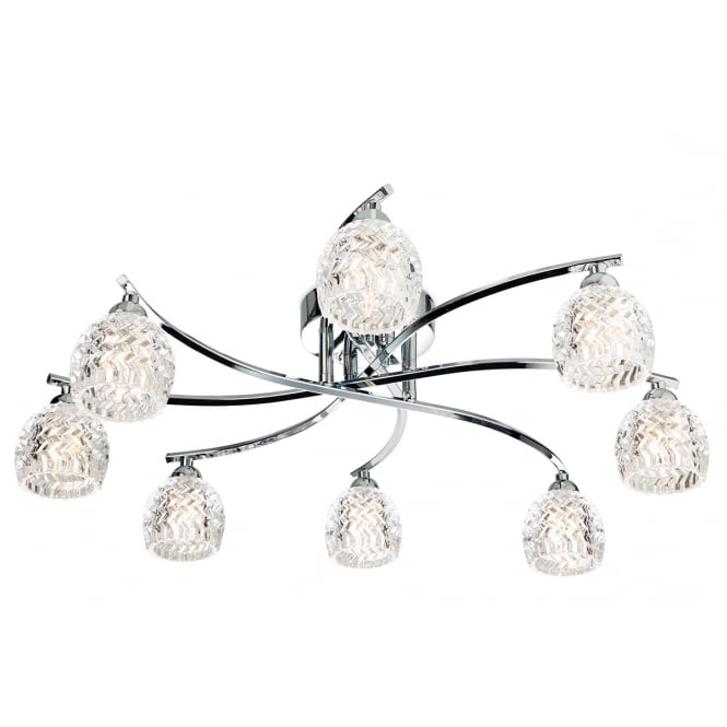 Firstlight Maple 8 Light Flush Fitting in Chrome with Clear Decorative Glass