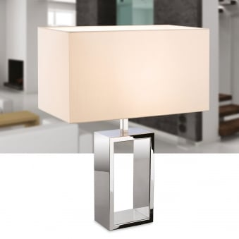 Melrose Table Lamp in Polished Stainless Steel with Cream Shade