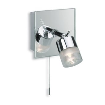 Ocean Single Wall Bathroom Spotlight with Chrome and Mirror Glass Finish