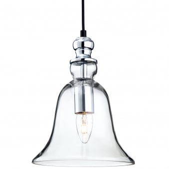 Omar Bell Design Pendant light in Clear Glass with Chrome Detailing