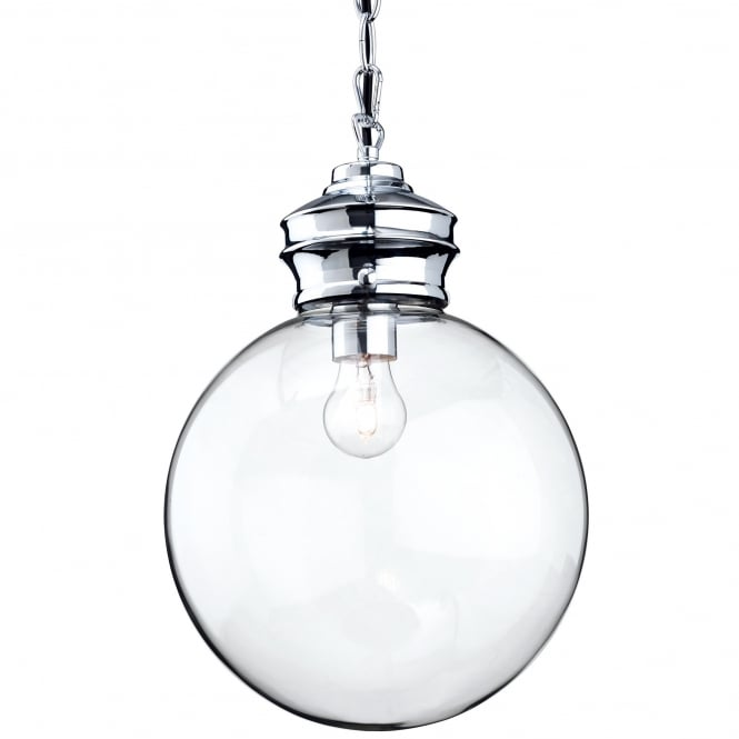 Firstlight Omar Pendant Light with Clear Glass Sphere and Chrome Detailing