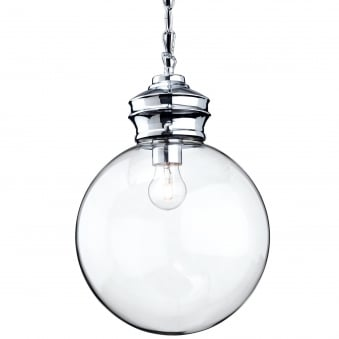 Omar Pendant Light with Clear Glass Sphere and Chrome Detailing
