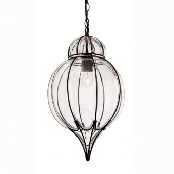 Pascal Point Blacked Framed with inset Moulded Clear Glass Pendant