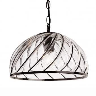 Pascal Spiral Blacked Framed with inset Moulded Clear Glass Pendant