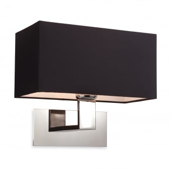 Prince Polished Stainless Steel Wall Light with Black Shade