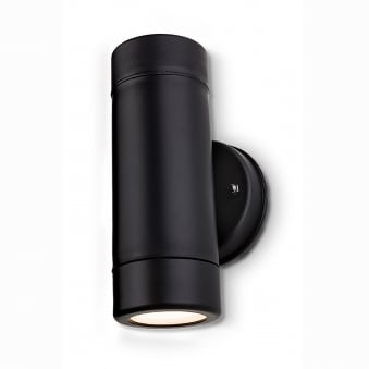 Ravel Twin LED Resin Coastal Up and Down Exterior Wall Light in Black