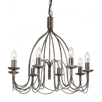 Regency Eight Light Chandelier Finished in Antique Silver