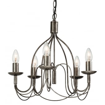 Regency Five Light Chandelier Finished in Antique Silver