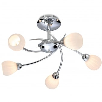 Rena 5 Light Flush Fitting in Chrome with Opal Glass Shades