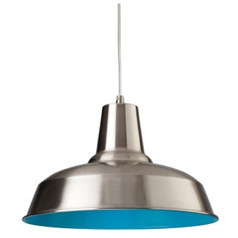 Smart Pendant Finished in Brushed Steel with Blue Inner