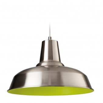 Smart Pendant Finished in Brushed Steel with Green Inner