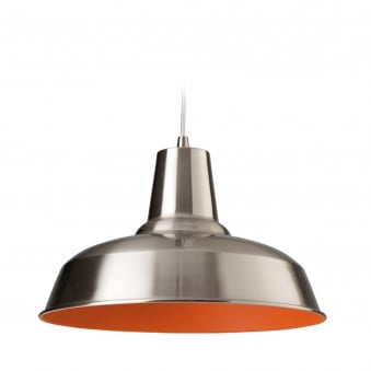 Smart Pendant Finished in Brushed Steel with Orange Inner