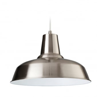 Smart Pendant Finished in Brushed Steel with White Inner