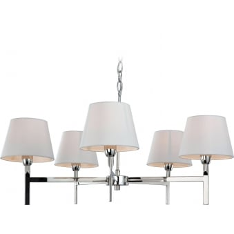 Transition Polished Stainless Steel Five Light Fitting with Cream Shades