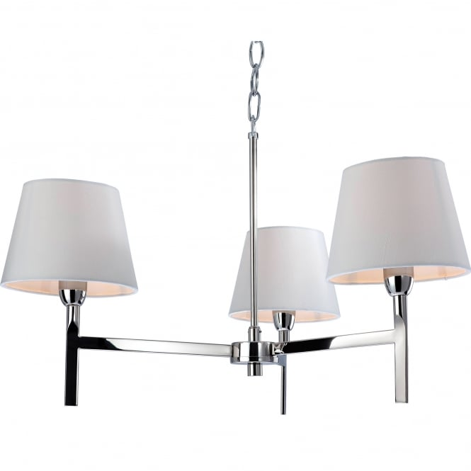 Firstlight Transition Polished Stainless Steel Three Light Fitting with Cream Shades