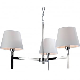 Transition Polished Stainless Steel Three Light Fitting with Cream Shades