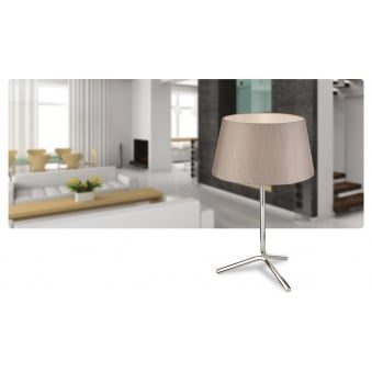 Tripod Polished Stainless Steel Table Lamp with Oyster Shade