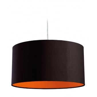 Zeta Pendant Light in Black Fabric with Orange Inner
