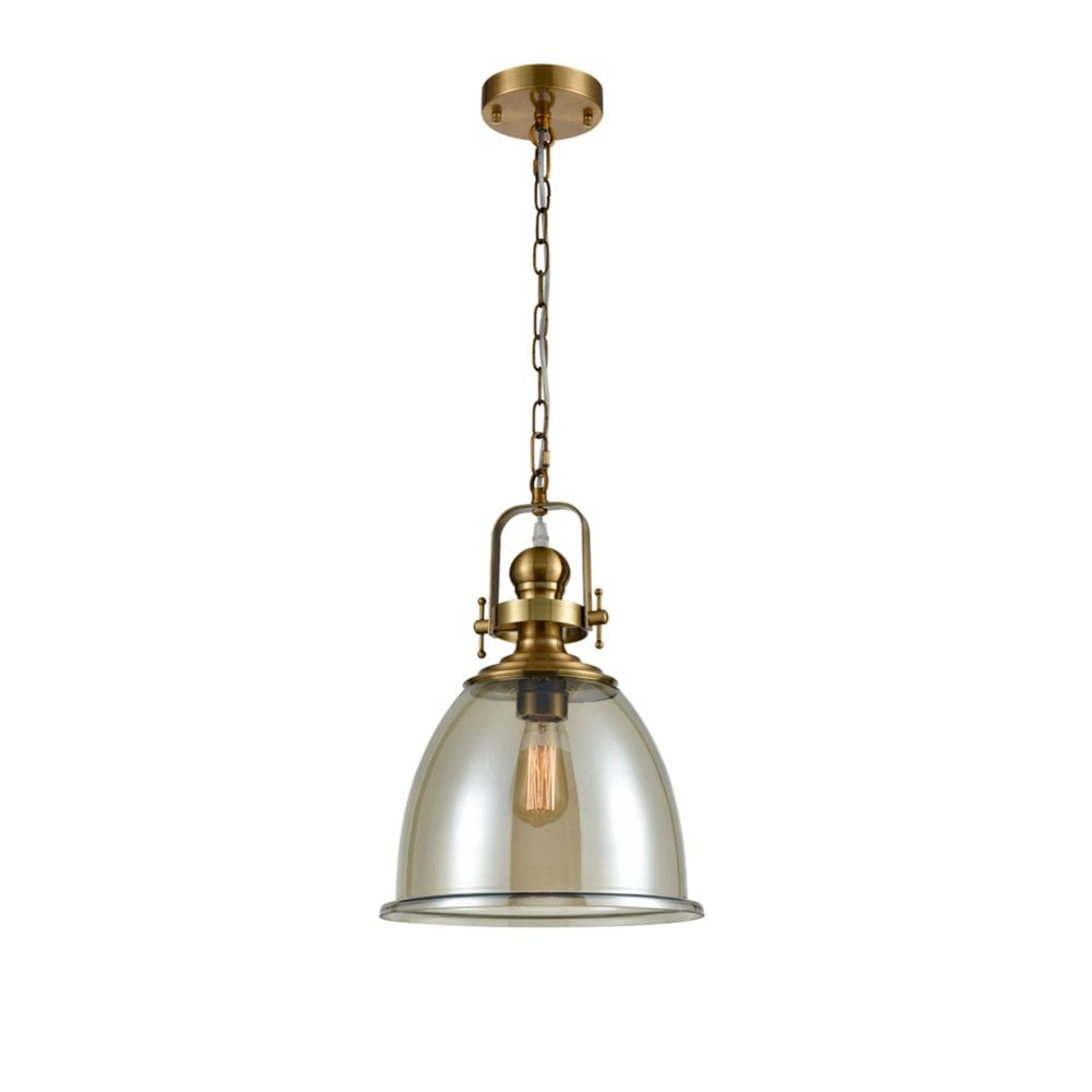 Vista PCH191 Single Pendant in Antique Gold and Amber Glass