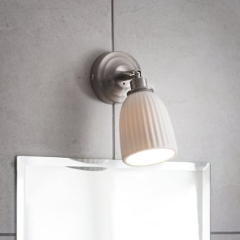 Alma Ceramic Bathroom Spot Light in Satin Nickel