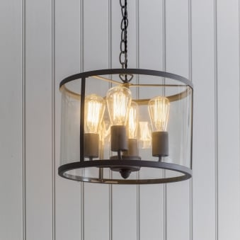Cadogan Circular 4 Light Pendant Light in Charcoal