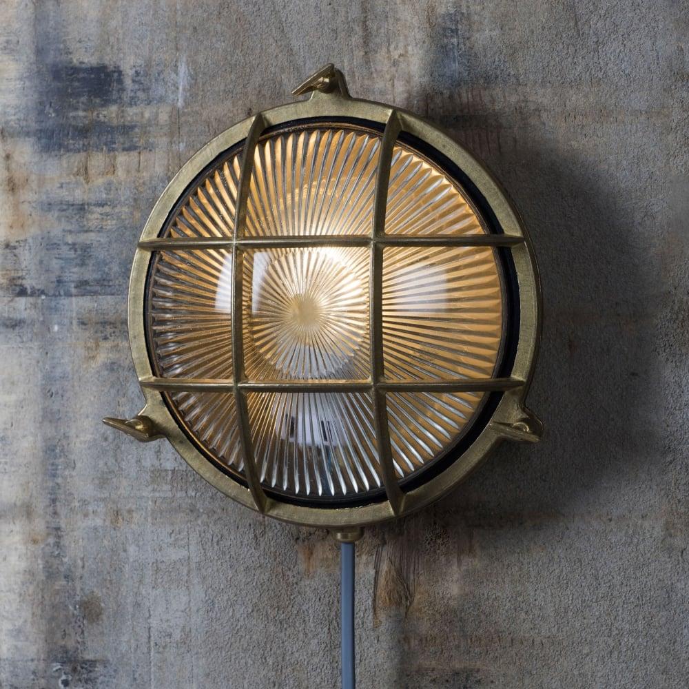 Garden tradingdevonport round coastal ip65 brass bulk head light for Round exterior lights