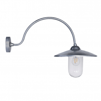 St Ives Arched Swan Neck Exterior Galvanised Wall Light
