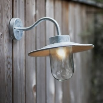 St Ives Swan Neck Exterior Galvanised Wall Light
