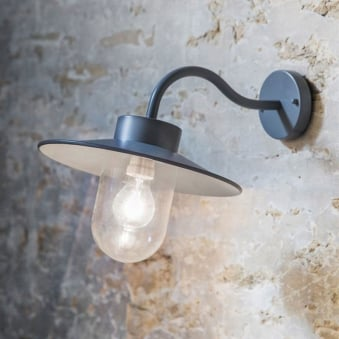 St Ives Swan Neck Exterior Wall Light in Charcoal