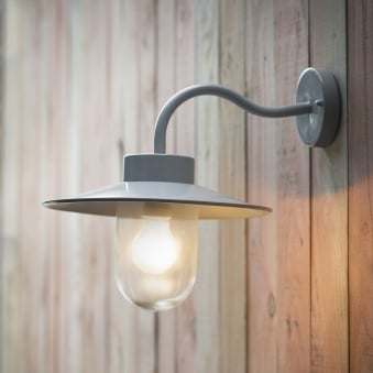 St Ives Swan Neck Exterior Wall Light in Flint