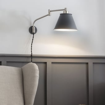 Westport Adjustable Wall Light in Charcoal