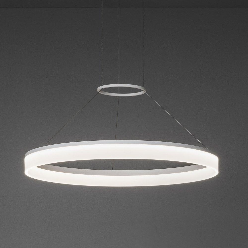 Circ 600 matt white circular led pendant light