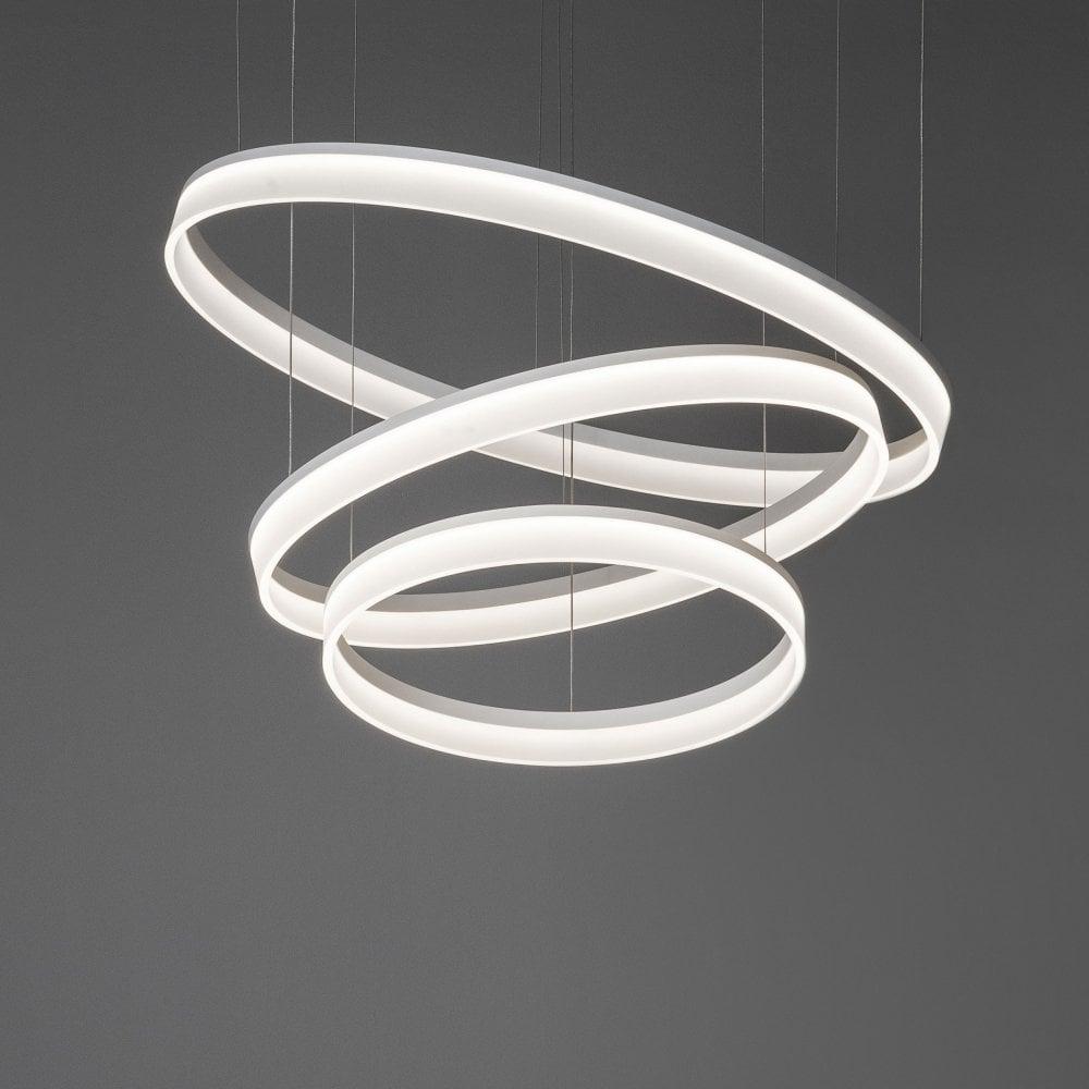 Circ matt white triple circular led pendant light