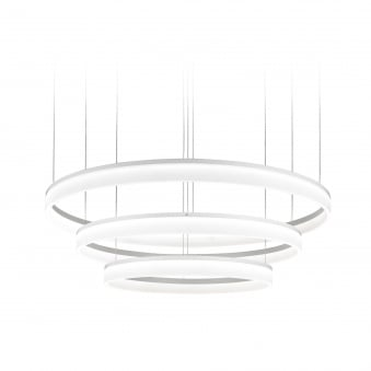 Circ Matt White Triple Circular LED Pendant Light