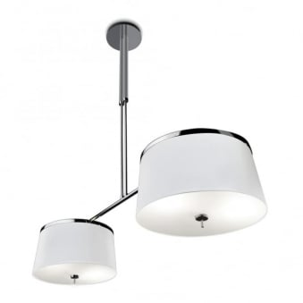 Leila Double Switched White & Chrome Pendant Light