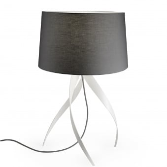 Medusa White Aluminium Table Lamp with Grey Shade