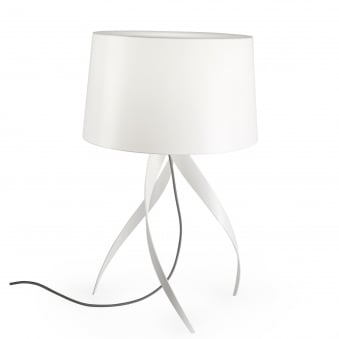 Medusa White Aluminium Table Lamp with White Shade