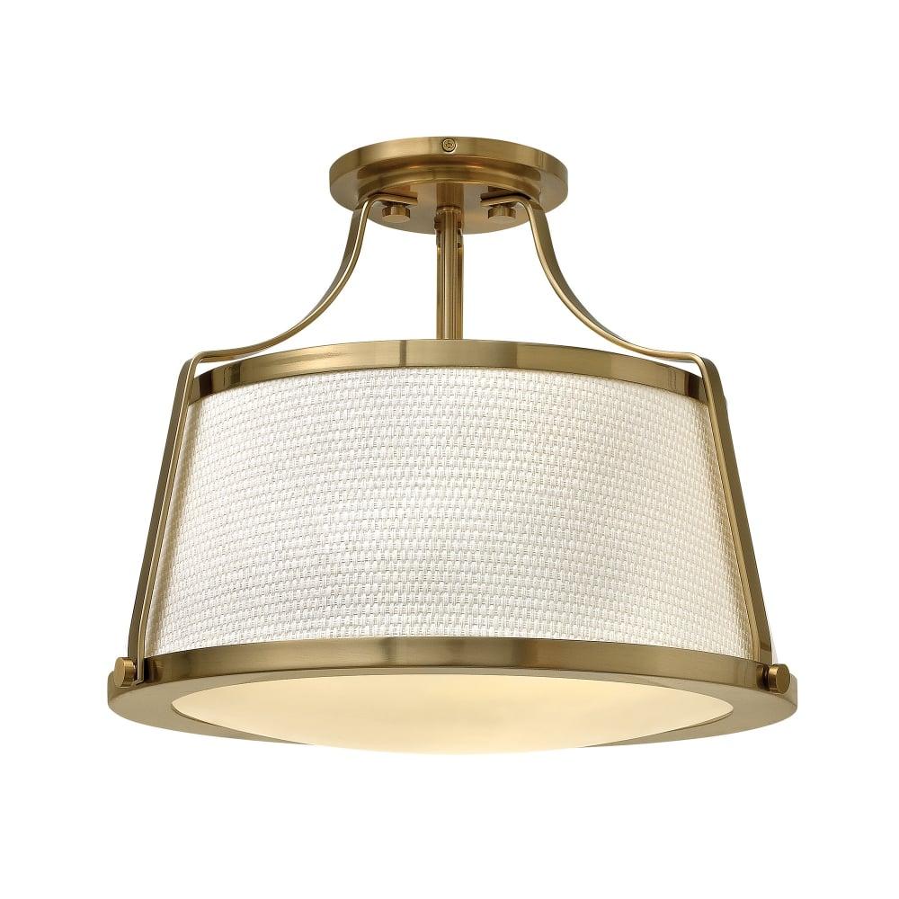 Hinkley Lighting Charlotte Semi Flush Ceiling Light Brushed Caramel Fitting Style From Dusk Lighting Uk