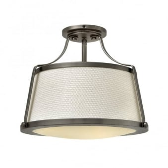 Charlotte Semi Flush Ceiling Light in Antique Nickel