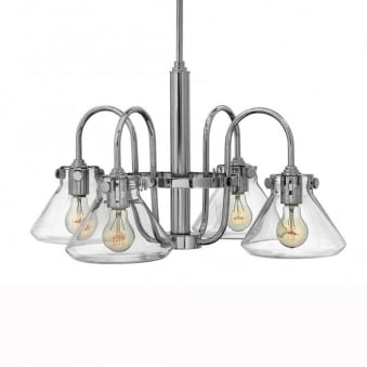 Congress Fluted Clear Glass 4 Arm Chandelier in Chrome