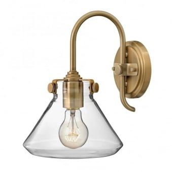 Congress Fluted Clear Glass Wall Light in Brushed Caramel