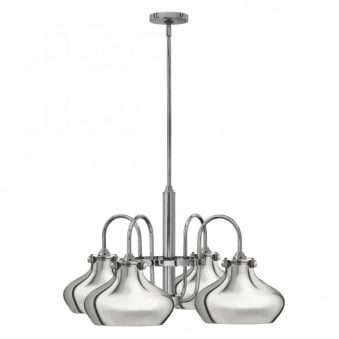Congress Metal Shade 4 Arm Chandelier in Chrome
