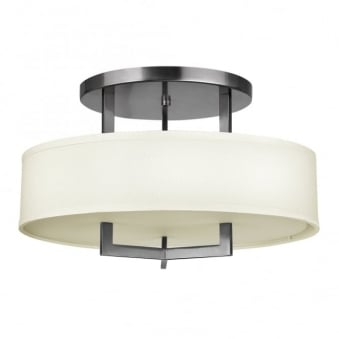 Hampton Semi Flush Ceiling Light in Antique Nickel