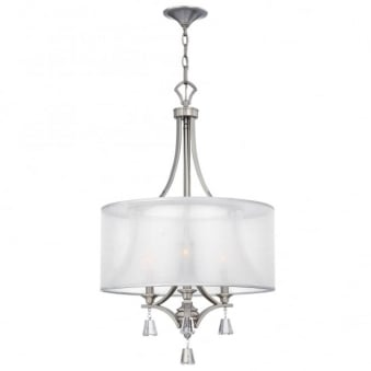 Mime 3 Light Chandelier in Brushed Nickel