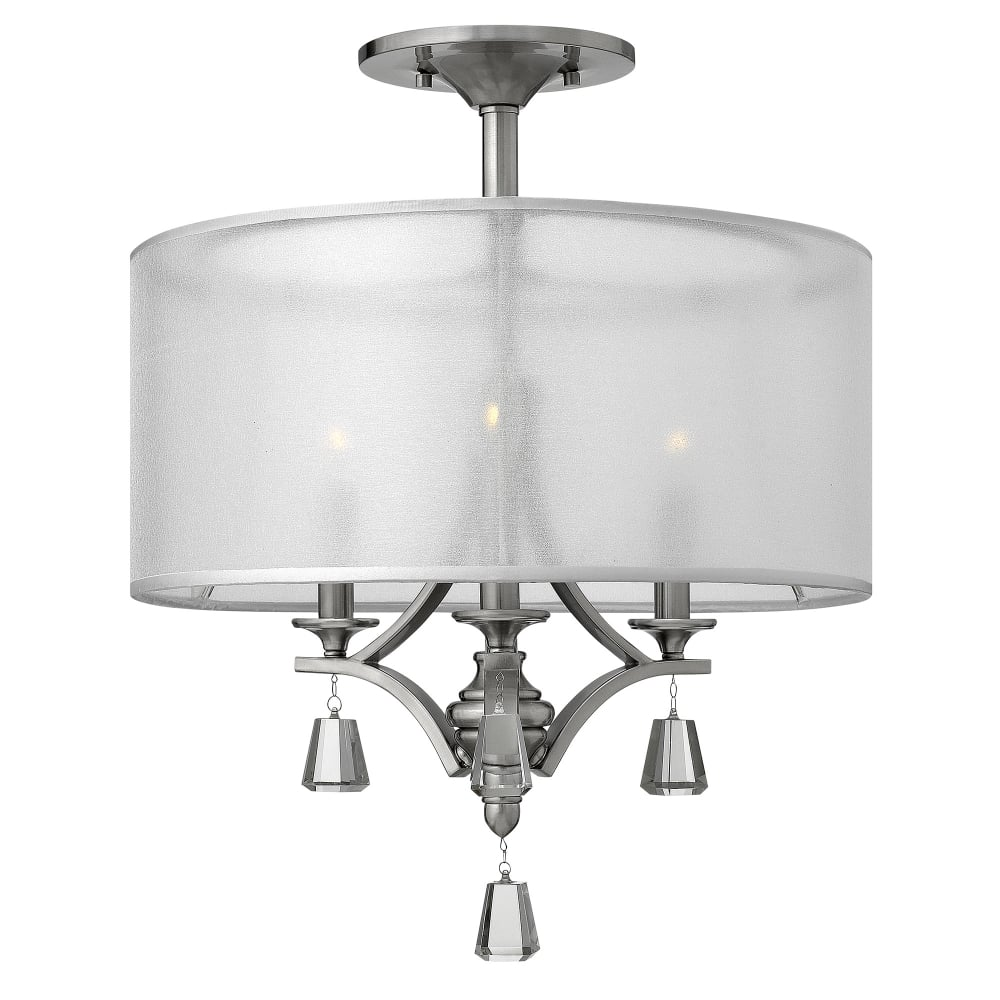 Hinkley Lighting Mime Semi Flush Ceiling Light In Brushed Nickel Fitting Style From Dusk Lighting Uk
