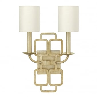 Sabina 2 Light Silver Leaf and Distressed Gold Wall Light